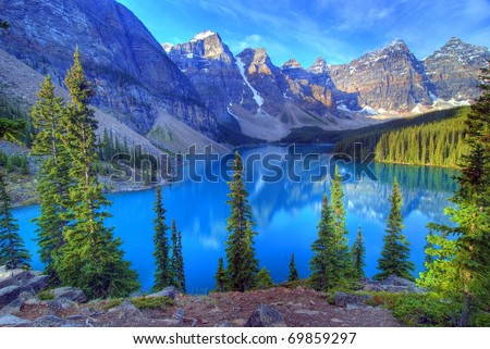 Wenkchemna Peaks Reflection on Moraine Lake, Banff, Rocly Mountain, Canada - stock photo