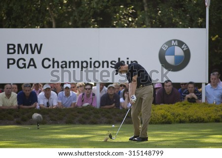 WENTWORTH, ENGLAND. 24 MAY 2009.Ross Fisher (GBR) playing in the final round of the European Tour BMW PGA Championship. - stock photo
