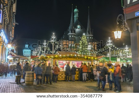Wernigerode, Germany - December 20, 2015: Evening street view of a town Wernigerode in the district of Harz, Saxony-Anhalt, Germany.