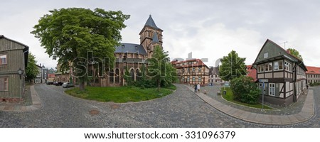 Wernigerode, Germany - May 30, 2009: Panoramic street view of a town Wernigerode in district of Harz, Saxony-Anhalt, Germany.