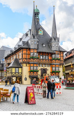 WERNIGERODE, GERMANY - MAY 4, 2015: Town hall in Wernigerode, Germany. Wernigerode was the capital of the district of Wernigerode until 2007