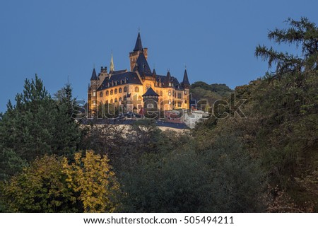 Wernigerode, Germany - October 16, 2016: Wernigerode Castle in the Harz mountains, Germany.