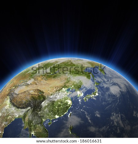 West Asia - China, Japan, Korea city lights at night. Elements of this image furnished by NASA - stock photo