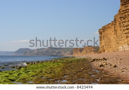 West Bay, Bridport in Dorset England on a summers day. - stock photo