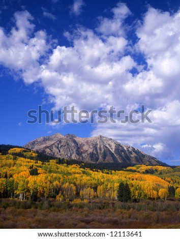 West Beckwith Mountain along Kebler Pass in the Gunnison National Forest of Colorado photographed during the autumn season. - stock photo