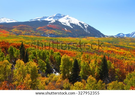 West Beckwith peak in autumn time at Kebler pass Colorado - stock photo