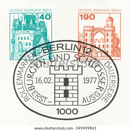 WEST BERLIN - CIRCA 1977: A  first day of issue postmark printed in Federal Republic of Germany, shows Eltz and Pfaueninsel in Berlin, circa 1977