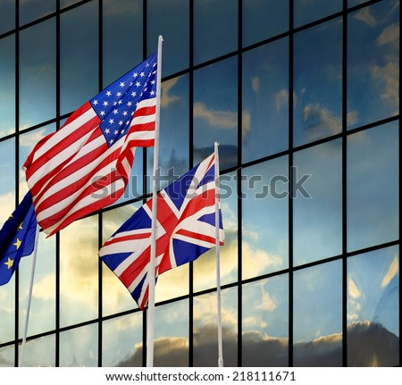 West civilization democracy, flags background. - stock photo