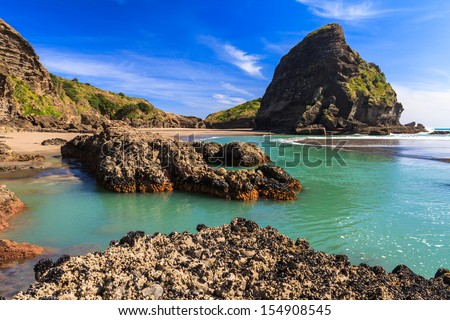 West Coast Beach, Piha, AUckland, New Zealand - stock photo