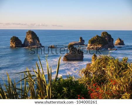 West coast of New Zealand - Punakaiki Pancake rocks region - stock photo