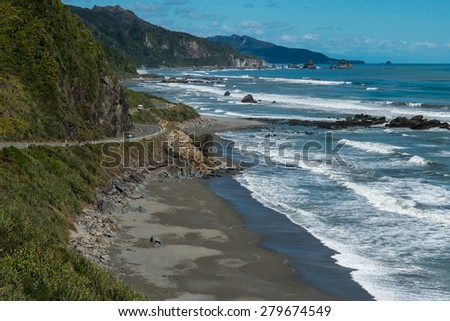 West Coast of New Zealand's South Island  - stock photo