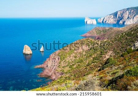 West coast of Sardinia from Nebida, Italy - stock photo