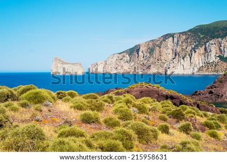West coast of Sardinia with Pan di Zucchero from Masua, Italy - stock photo