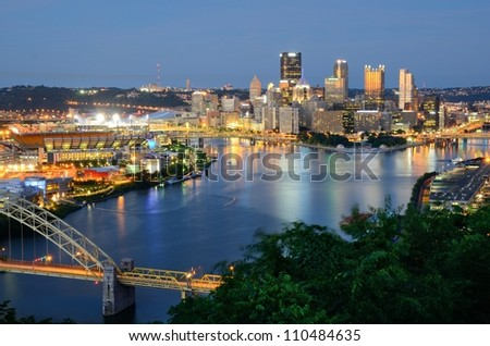 West End Bridge and downtown PIttsburgh, Pennsylvania, USA. - stock photo