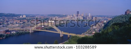 West End Bridge at the Three Rivers in Pittsburgh - stock photo