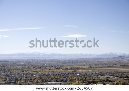 West end of Billings, Montana and the Beartooth Mountains - stock photo