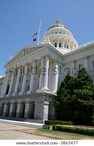 West Entrance of the California State Capitol Building in Downtown Sacramento - stock photo