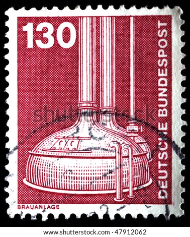 WEST GERMANY - CIRCA 1975: A stamp printed in West Germany shows Breweries, circa 1975