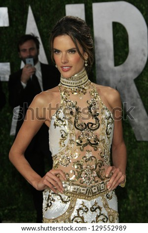 WEST HOLLYWOOD, CA - FEB 24: Alessandra Ambrosio at the Vanity Fair Oscar Party at Sunset Tower on February 24, 2013 in West Hollywood, California - stock photo