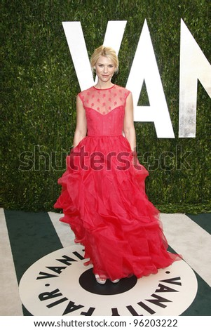 WEST HOLLYWOOD, CA - FEB 26: Claire Danes at the Vanity Fair Oscar Party at Sunset Tower on February 26, 2012 in West Hollywood, California. - stock photo