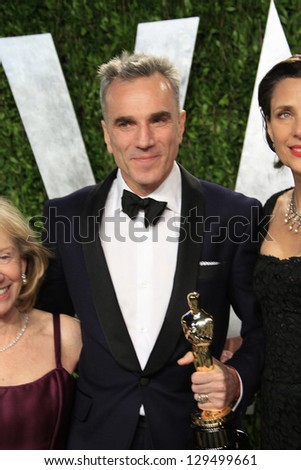 WEST HOLLYWOOD, CA - FEB 24: Daniel Day-Lewis at the Vanity Fair Oscar Party at Sunset Tower on February 24, 2013 in West Hollywood, California - stock photo