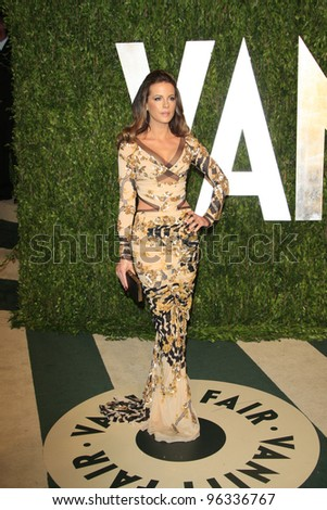 WEST HOLLYWOOD, CA - FEB 26: Kate Beckinsale at the Vanity Fair Oscar Party at Sunset Tower on February 26, 2012 in West Hollywood, California.