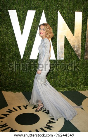 WEST HOLLYWOOD, CA - FEB 26: Miley Cyrus at the Vanity Fair Oscar Party at Sunset Tower on February 26, 2012 in West Hollywood, California. - stock photo