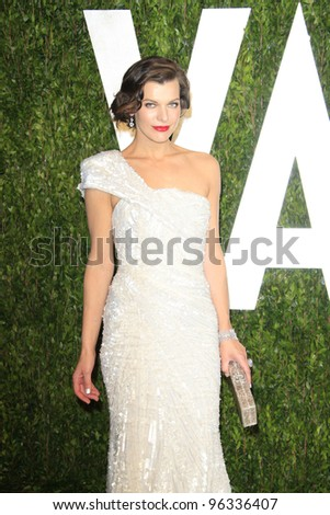 WEST HOLLYWOOD, CA - FEB 26: Milla Jovovich at the Vanity Fair Oscar Party at Sunset Tower on February 26, 2012 in West Hollywood, California.