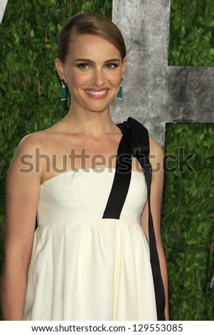 WEST HOLLYWOOD, CA - FEB 24: Natalie Portman at the Vanity Fair Oscar Party at Sunset Tower on February 24, 2013 in West Hollywood, California - stock photo