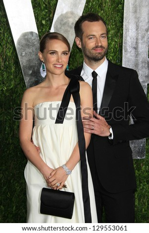 WEST HOLLYWOOD, CA - FEB 24: Natalie Portman, Benjamin Millepied at the Vanity Fair Oscar Party at Sunset Tower on February 24, 2013 in West Hollywood, California