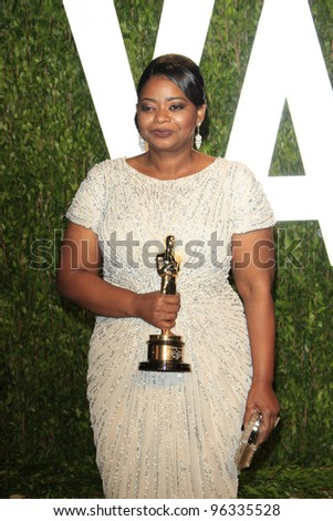 WEST HOLLYWOOD, CA - FEB 26: Octavia Spencer at the Vanity Fair Oscar Party at Sunset Tower on February 26, 2012 in West Hollywood, California. - stock photo
