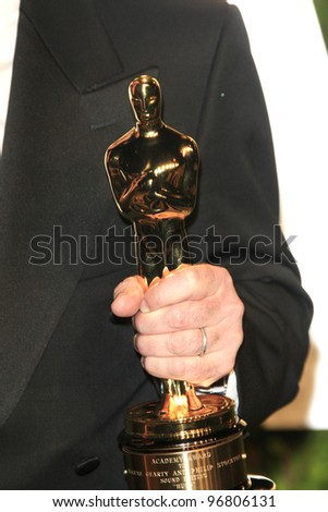 WEST HOLLYWOOD, CA - FEB 26: Oscar Statue at the Vanity Fair Oscar Party at Sunset Tower on February 26, 2012 in West Hollywood, California. - stock photo