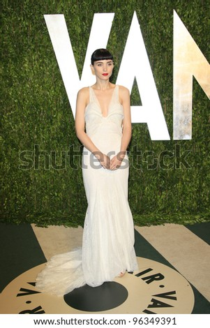 WEST HOLLYWOOD, CA - FEB 26: Rooney Mara at the Vanity Fair Oscar Party at Sunset Tower on February 26, 2012 in West Hollywood, California. - stock photo