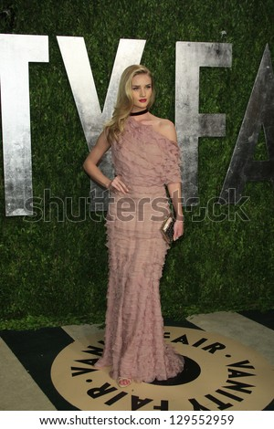WEST HOLLYWOOD, CA - FEB 24: Rosie Huntington-Whiteley at the Vanity Fair Oscar Party at Sunset Tower on February 24, 2013 in West Hollywood, California