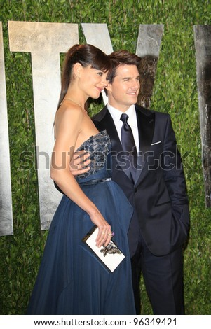 WEST HOLLYWOOD, CA - FEB 26: Tom Cruise; Katie Holmes at the Vanity Fair Oscar Party at Sunset Tower on February 26, 2012 in West Hollywood, California.