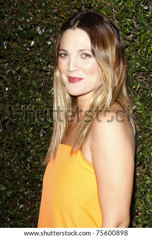 WEST HOLLYWOOD, CA  - JAN 5:  Drew Barrymore (Dress: Jil Sander) at the COVERGIRL 50th Anniversary Celebration at BOA Steakhouse held on January 5, 2011 in West Hollywood, California. - stock photo