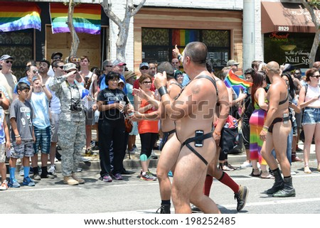 WEST HOLLYWOOD, CA - JUNE 8, 2014  Annual Gay pride parade with over 450,000 spectators on the streets since 1970