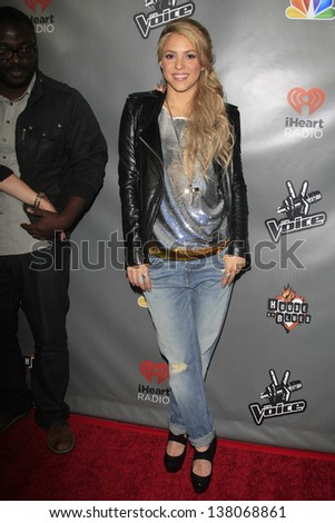 WEST HOLLYWOOD, CA - MAY 8:  Shakira at the NBC's 'The Voice' Season 4 Red Carpet Event at the House of Blues on May 8, 2013 in West Hollywood, California - stock photo