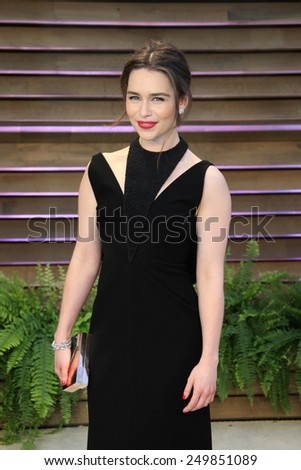 WEST HOLLYWOOD - MAR 2:: Emilia Clarke at the 2014 Vanity Fair Oscar Party on March 2, 2014 in West Hollywood, California - stock photo