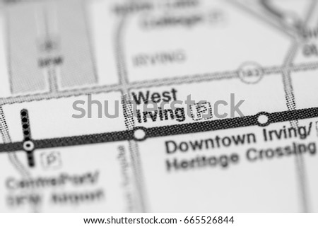 West Irving Station Dallas Metro Map Stock Photo 665526844