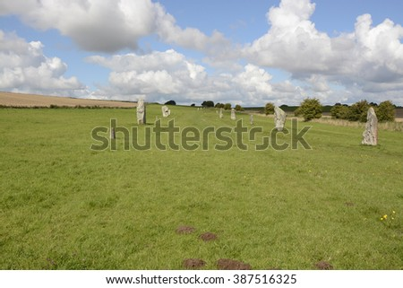 West Kennet Avenue ancient monument of standing stones near Avebury in Wiltshire, England - stock photo