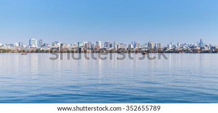 West Lake coast, panorama of Hangzhou city, China