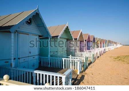 WEST MERSEA, ESSEX/UK - JULY 24  : Beach huts at West Mersea on July 24, 2012