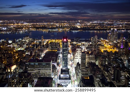 West of Manhattan facing the Hudson River during the sunset - stock photo
