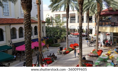 WEST PALM BEACH, FL - NOV 29: CityPlace in West Palm Beach, Florida, as seen on Nov 29, 2015. It is an upscale lifestyle center, including shops, restaurants, rental apartments, condos, and offices.