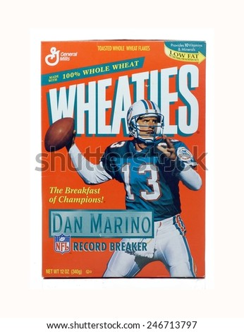 WEST PALM BEACH, FLORIDA - January 24, 2015: Nice Image of a collectible box of Wheaties by General Mills from the Dan Marino record breaking season in the NFL.  The orange box pictures Marino passing