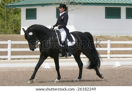 WEST PALM BEACH, FLORIDA - MARCH 6, 2009: Lunda Alicki and Donates compete in the Wellington Classic Dressage Challenge II on March 6, 2009 in West Palm Beach.