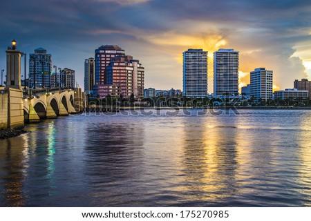 West Palm Beach, Florida skyline at sunset. - stock photo
