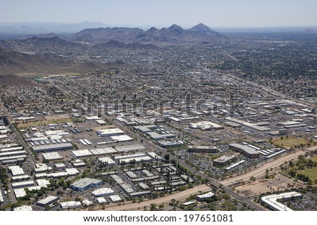 West Peoria Avenue and 23rd Avenue office and light industrial district in Phoenix, Arizona - stock photo