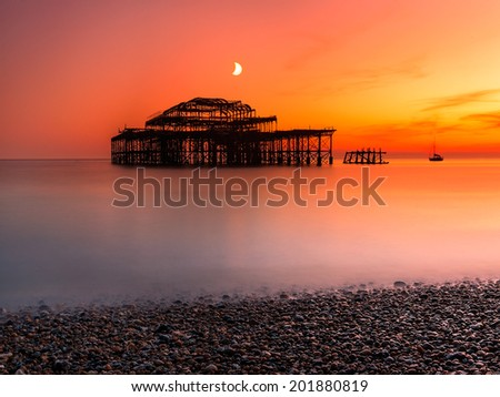West Pier in Brighton after sun set , UK - stock photo